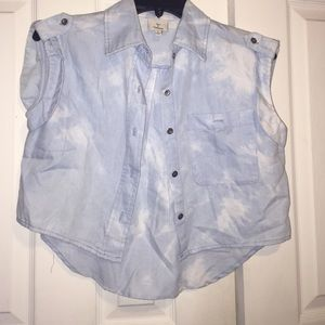Acid Wash Chambray Top