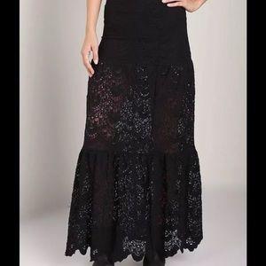 Free people black lace maxi dress
