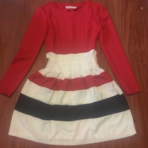 Red, white and Black long sleeve dress