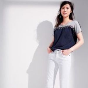 J. Crew Embroidered Colorblock Tee
