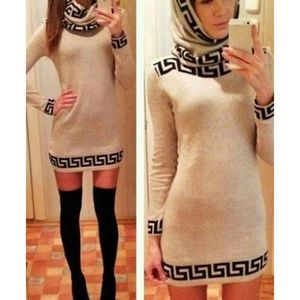 Dresses & Skirts - Sexy Slash Collar Long Sleeve Printed Bodycon Wome