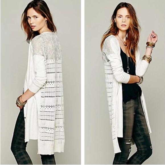 61% off Free People Sweaters - Free People Cardigan Long Eyelet ...