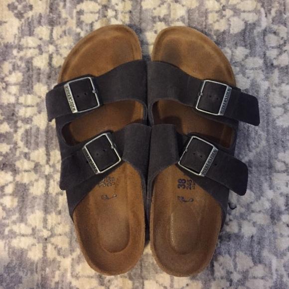 e078e55b637 Birkenstock Shoes - Velvet Grey Birkenstock Arizona Soft Suede Sandal