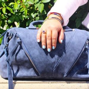 Gray/Navy Faux Suede Satchel!