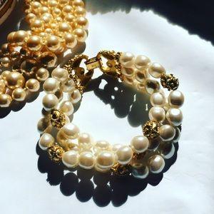 Jewelry - Ivory Pearl & Gold Bead Bracelet