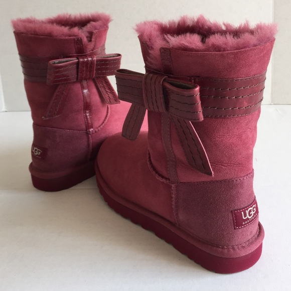 UGG Australia Pink Leather Bow Boots Authentic