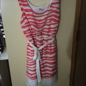 xL pink and cream stripe pattern dress with tie