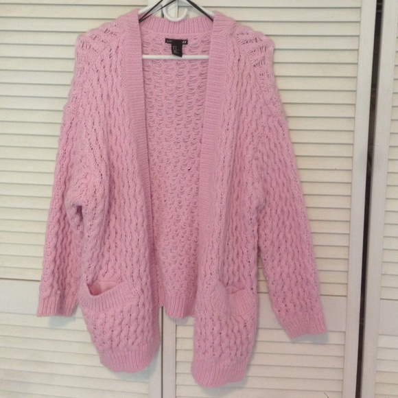 2845030869 H M Sweaters - Pink oversized knit cardigan