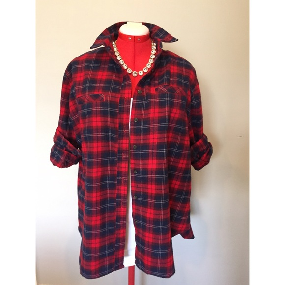 48 Off Tops Red And Blue Plaid Flannel Shirt From Annie