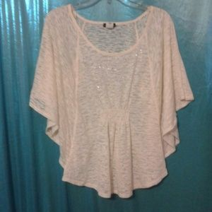 Ivory jersey knit bat wing top