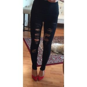 JOE'S JEANS Black Shredded Leggings