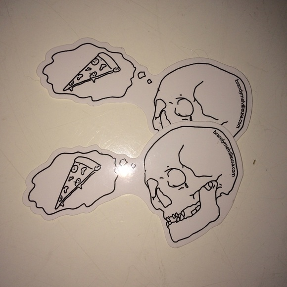 Brandy melville skull and pizza sticker