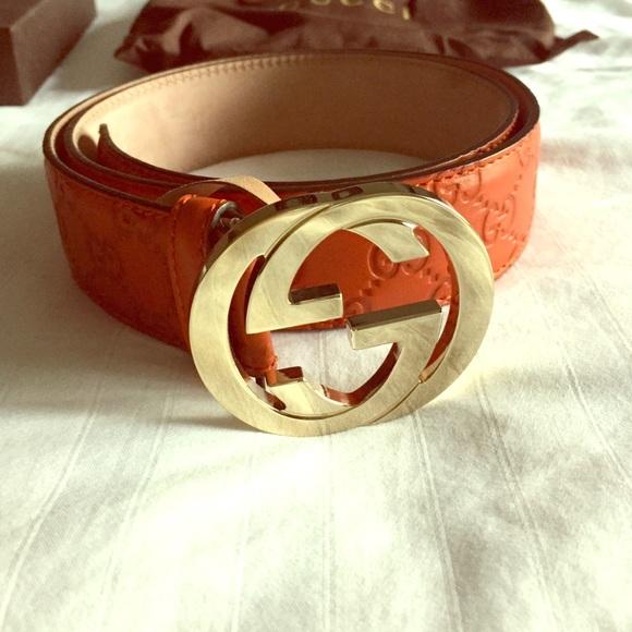 306c701cf Gucci Accessories   Orange Ssima Leather Belt   Poshmark