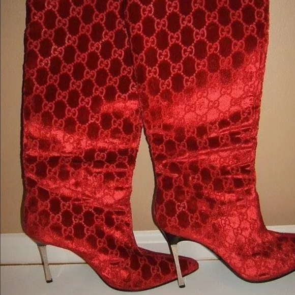 Gucci Gucci 38 5 Sexy Red Velvet Vintage 8 5 Italy Boots