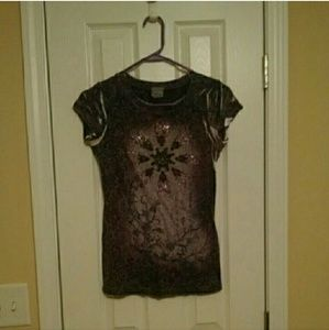 Daytrip Tops - Daytrip T-Shirt with Gem Detail