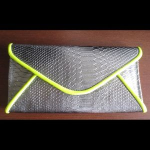 Remi  & Reid Clutches & Wallets - Silver and Neon Yellow Envelope Clutch
