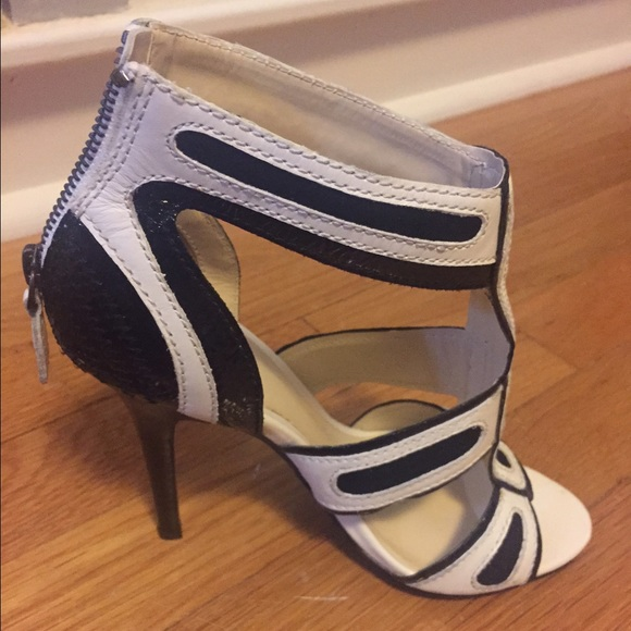 80 bakers shoes bakers black white cage heels