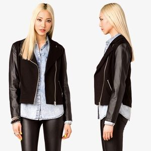 F21 Leather Sleeve Moto Jacket