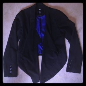 Black Blazer with front hanging detail