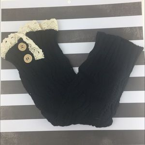 Lil + Lo Accessories - Black knee high Boot Socks Leg Warmers w/ button