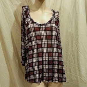 Pleione plaid tunic top
