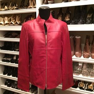 August Max Jackets & Blazers - Red August Max 🌟Leather Zip up Jacket NWT