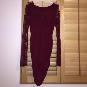 Venus maroon tight dress