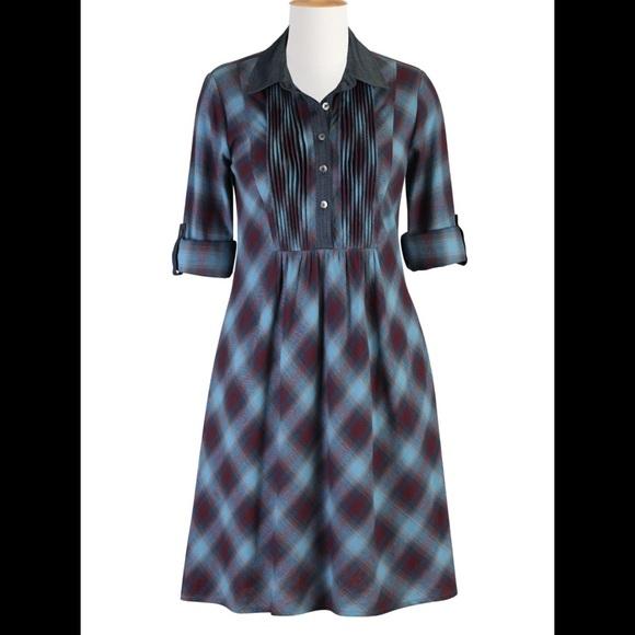 64% off Eshakti Dresses & Skirts - New Eshakti Plaid Chambray ...