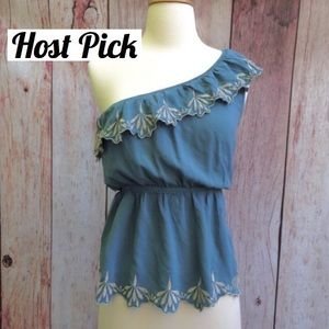 SALE  HP  mine // blue one shouldered top