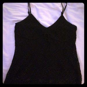 Black crochet tank