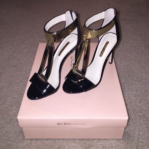 BCBGeneration black and gold pate heels