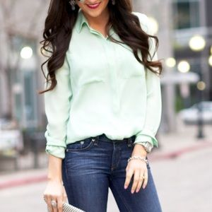 J.CREW Mint Green Silk Blouse