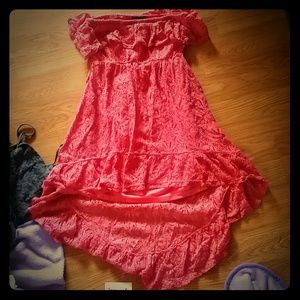 Coral lace hi low dress