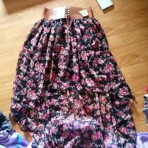 Hi low floral skirt