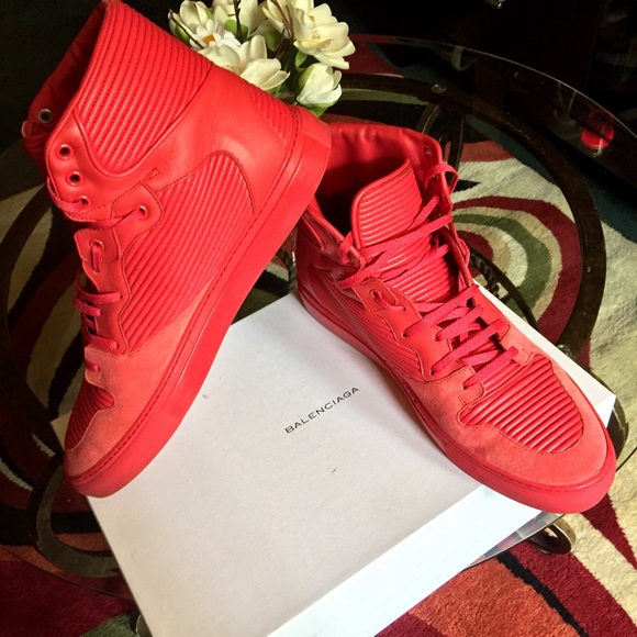 All Red Balenciaga Pleated Trainer