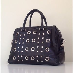 MILLY LEATHER GROMMET BAG