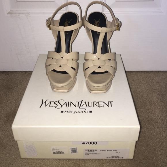 b3d7bd8f80 Yves Saint Laurent Shoes | Ysl Tribute T Strap Nude Platform Sandal ...