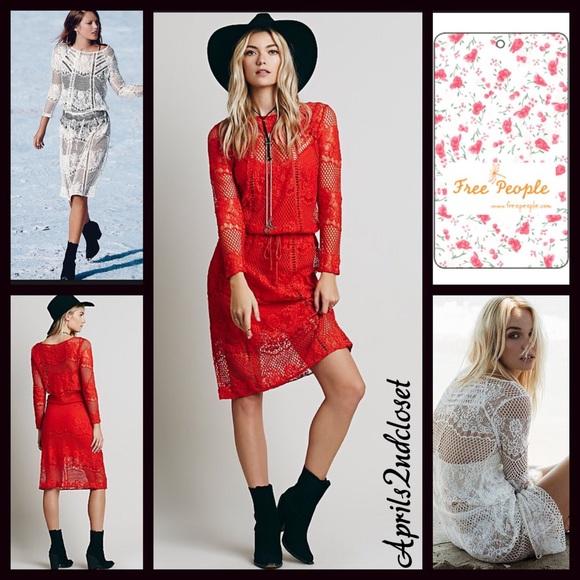 Free People Dresses Boho Red Crochet Lace Midi Dress Poshmark