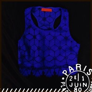 Rich royal blue lace crop top