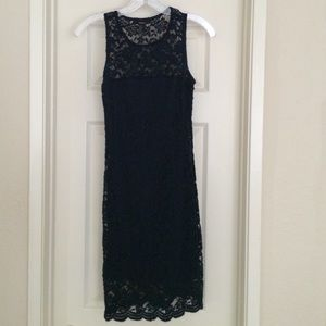 Navy blue lace body con dress