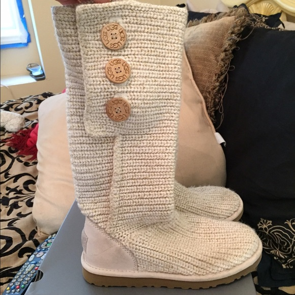 Ugg Shoes Authentic Australia Cream Knitted Boots Poshmark