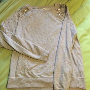 Tops - Tan top with gold sequins