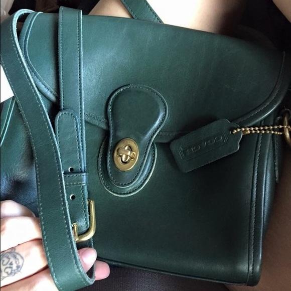 370502f25a0b Coach Handbags - VINTAGE green leather coach crossbody bag