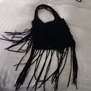 Topshop suede bag with fringes