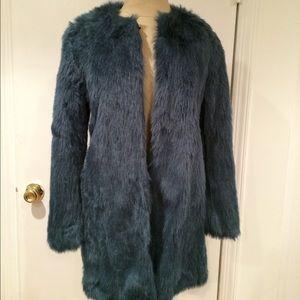 Zara Teal Faux fur coat size S