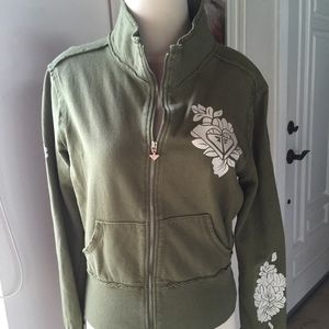 ROXY Olive Green Cotton Zip Front Jacket large