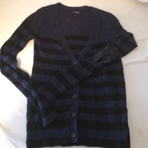 Express black and navy striped sweater