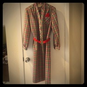 Vintage 70's Plaid Belted Button Shirt Dress Red