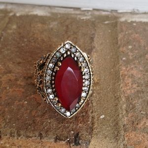 Jewelry - Huge Two Tone Ruby Topaz Ring.