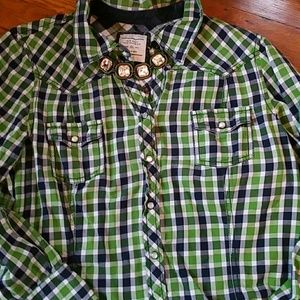 Old Navy western style plaid button down